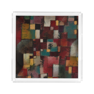 Redgreen and Violet-yellow Rhythms by Paul Klee Serving Tray