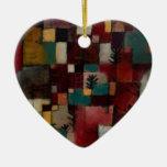Redgreen y ritmos Violeta-amarillos de Paul Klee Adorno Navideño De Cerámica En Forma De Corazón