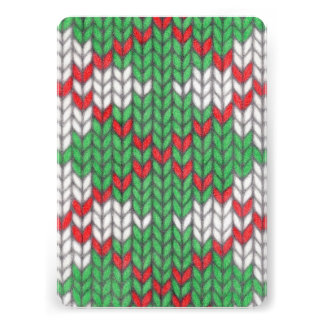 RedGreenWhite Knit Argyle Invitation / Flat Card
