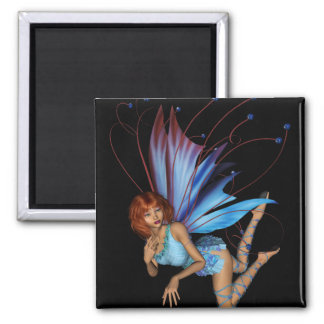 Redhead 3D Pixie - Purple & Blue 2 Inch Square Magnet