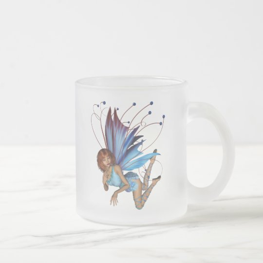 Redhead 3D Pixie - Purple & Blue Frosted Glass Coffee Mug