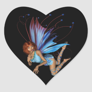 Redhead 3D Pixie - Purple & Blue Heart Sticker