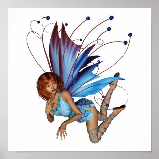 Redhead 3D Pixie - Purple & Blue Poster