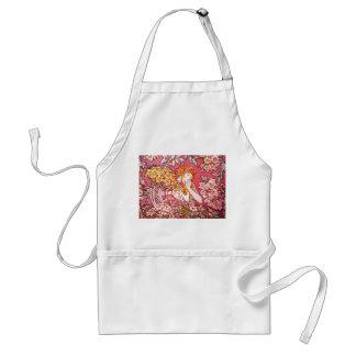 Redhead Among Flowers, Alphonse Mucha Adult Apron