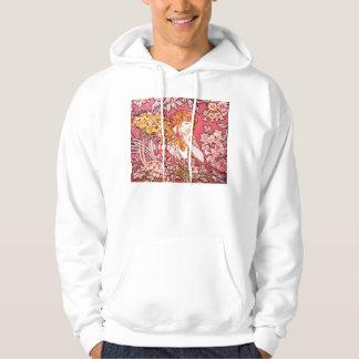 Redhead Among Flowers, Alphonse Mucha Hoodie