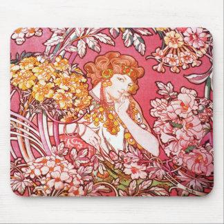 Redhead Among Flowers, Alphonse Mucha Mousepads