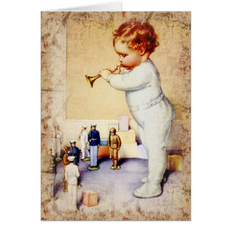Redhead Baby Boy Blowing Horn to Soldiers Greeting Card