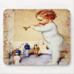 Redhead Baby Boy Blowing Horn to Soldiers Mouse Mat