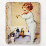 Redhead Baby Boy Blowing Horn to Soldiers Mouse Pad