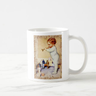 Redhead Baby Boy Blowing Horn to Soldiers Mugs