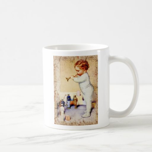 Redhead Baby Boy Blowing Horn to Soldiers Classic White Coffee Mug
