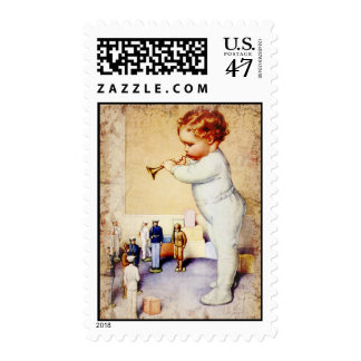 Redhead Baby Boy Blowing Horn to Soldiers Postage