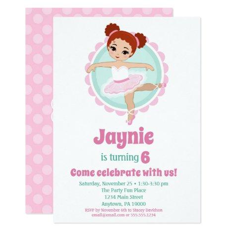 Redhead Ballerina Ballet Dancing Birthday Party Invitation
