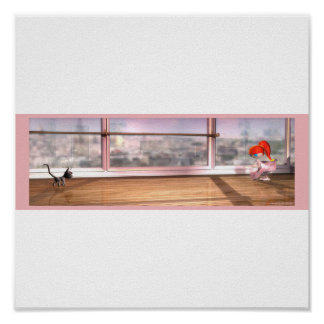 Redhead ballet girl with dance cat poster