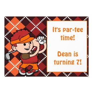 Redhead Boy Golf Birthday Party Invitation