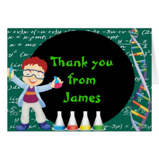 Redhead Boy Mad Scientist Thank You Note Card