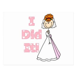 Redhead Bride I Did It Postcard