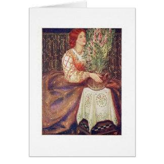 Redhead con las flores tarjeta de felicitación