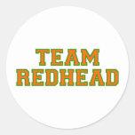 Redhead del equipo - naranja/Grn Pegatina Redonda