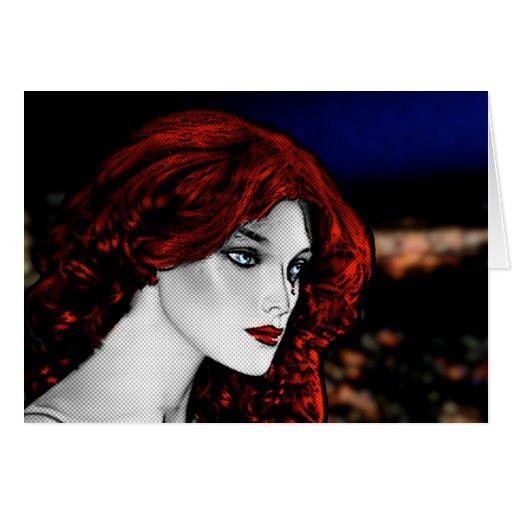 Redhead del estilo del cómic tarjeta de felicitación