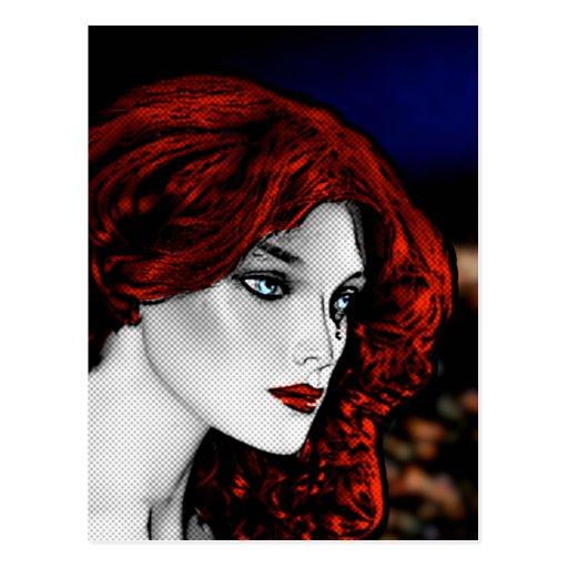 Redhead del estilo del cómic tarjeta postal