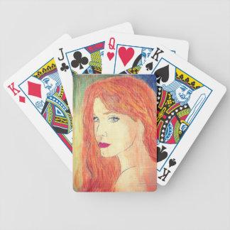 redhead en naipes de los pasteles de la tiza barajas de cartas