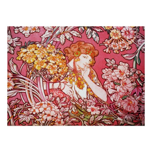 Redhead entre las flores, Alfonso Mucha Posters
