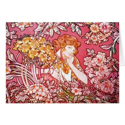 Redhead entre las flores, Alfonso Mucha Felicitación