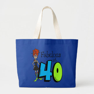 Redhead fabuloso en el cumpleaños 40 bolsa tela grande