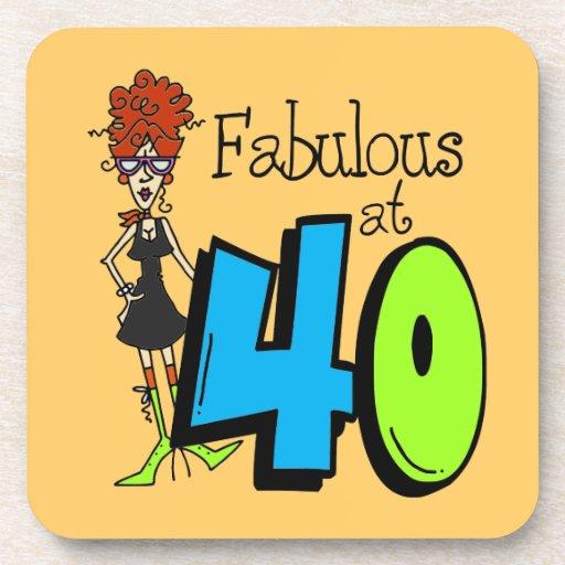 Redhead fabuloso en el cumpleaños 40 posavasos