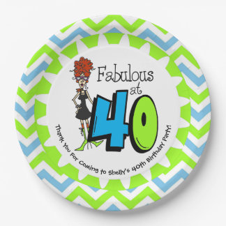 Redhead Fabulous at 40 40th Birthday Paper Plates