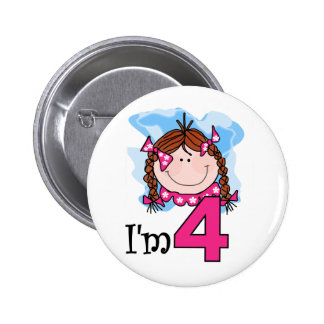 Redhead Girl I'm Four  2 Inch Round Button