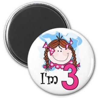 Redhead Girl I'm Three Magnet