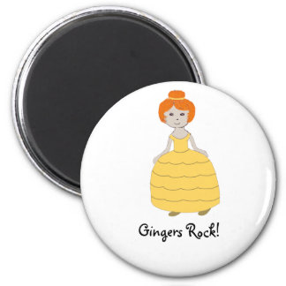 "Redhead Girl in Yellow Dress""Gingers Rock!"" Magnet"