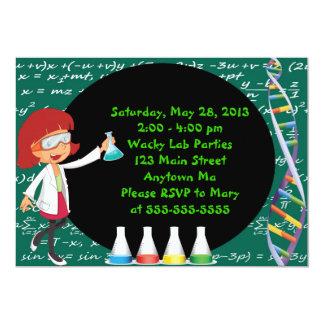 "Redhead Girl Mad Scientist Party Invitation 5"" X 7"" Invitation Card"