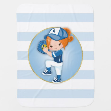 Redhead Girls Blue Softball Baby Blanket