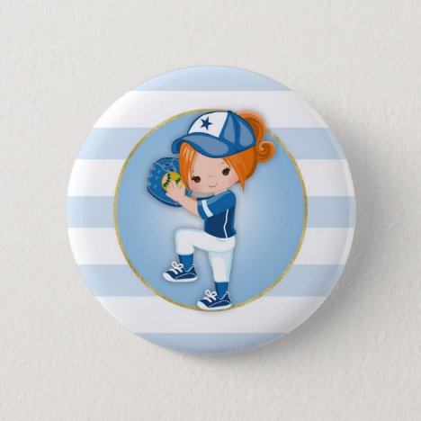 Redhead Girls Blue Softball Button