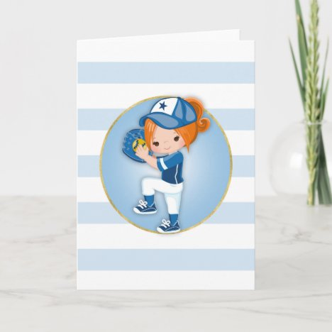 Redhead Girls Blue Softball Card