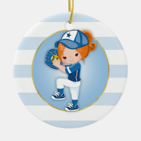 Redhead Girls Blue Softball Ceramic Ornament