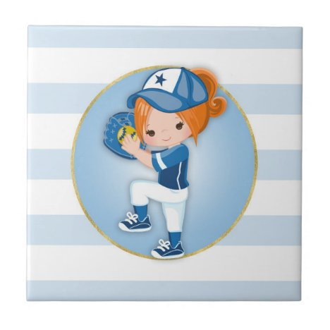 Redhead Girls Blue Softball Ceramic Tile
