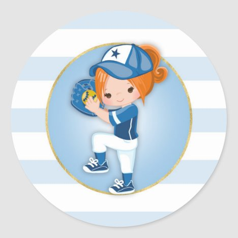 Redhead Girls Blue Softball Classic Round Sticker