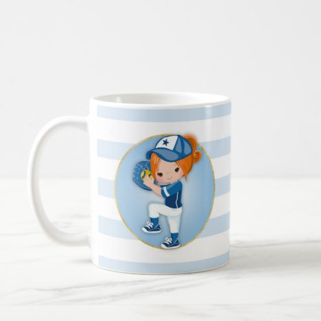 Redhead Girls Blue Softball Coffee Mug