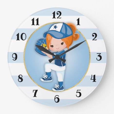 Redhead Girls Blue Softball Large Clock