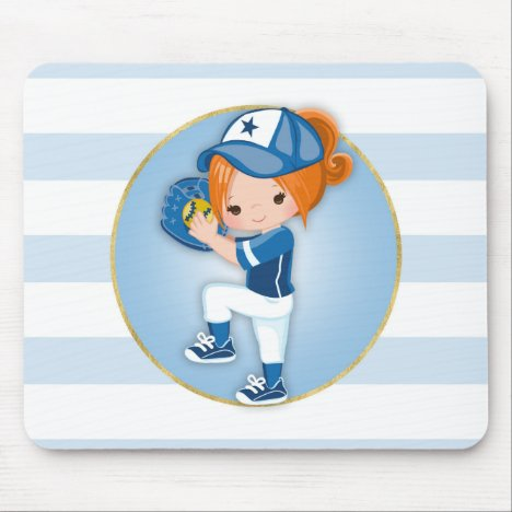 Redhead Girls Blue Softball Mouse Pad