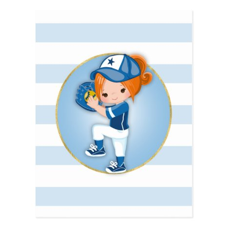 Redhead Girls Blue Softball Postcard
