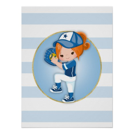 Redhead Girls Blue Softball Poster
