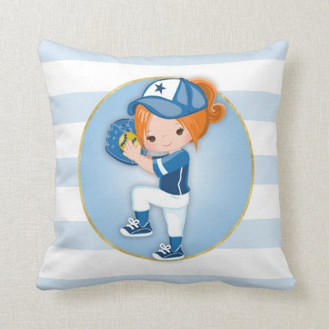 Redhead Girls Blue Softball Throw Pillow