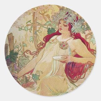 Redhead Goddess Round Stickers