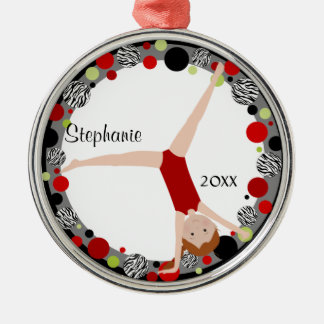 Redhead Gymnast in Red, Black & Green Personalized Round Metal Christmas Ornament