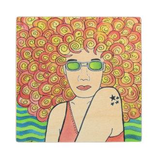 Redhead Hippie Chick Wooden Coaster